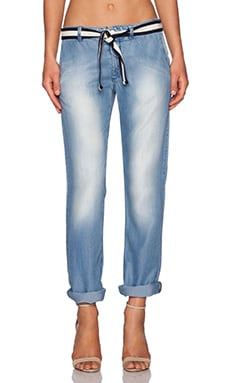 MONROW Chambray Chino Pant in Denim Wash