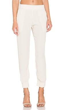 MONROW Permanent Collection Crepe Skinny Sweatpant in Bone