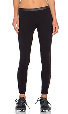 MONROW Perforated Leather Tuxedo Legging in Black & Bone