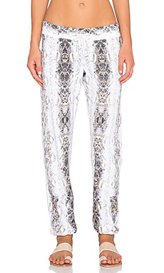 MONROW Snake Print Vintage Sweatpant in White