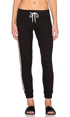MONROW Wooly Blend Felt Stripe Sweatpant in Black