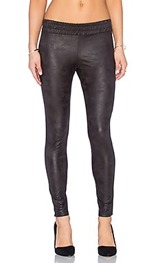 MONROW Soft Leather Half Half Legging in Black