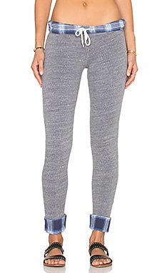 MONROW Japanese Plaid Fold Over Sweatpant in Dark Heather