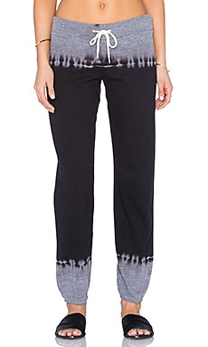MONROW Black Out Tie Dye Varsity Sweatpants in Dark Heather