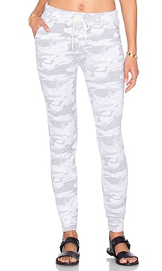 MONROW Neutral Camo Sporty Sweatpant in White