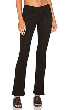MONROW Stretch Rib Flare Legging in Black