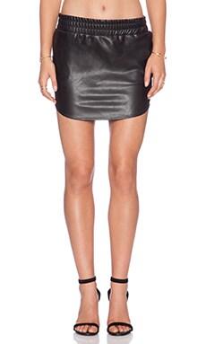 MONROW Heavy Leather Vegan Leather Baseball Skirt in Black