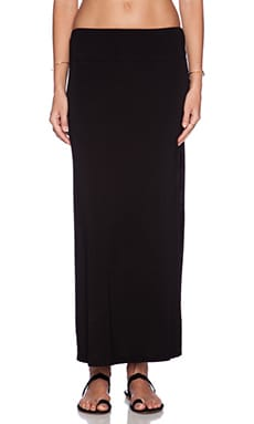 MONROW Ash Stretch Rayon Side Slit Maxi Skirt in Black