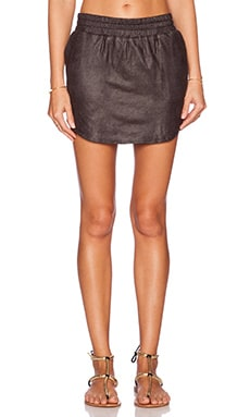 MONROW Perforated Leather Baseball Skirt in Black
