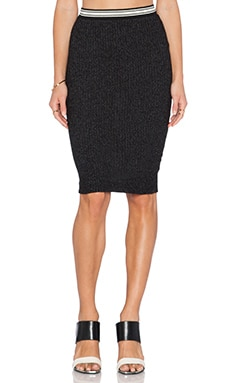 MONROW Sal & Pepper Dip Dye Pencil Skirt in Black