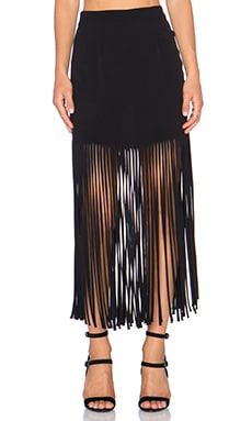 MONROW Fringe Maxi Skirt in Black