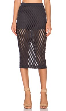 MONROW Crochet Skirt in Black
