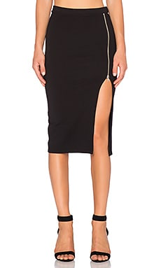 MONROW Zip Up Maxi Skirt in Black