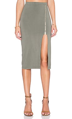 MONROW Zip Up Maxi Skirt in Hunter
