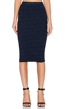 MONROW Slub Pencil Skirt in Inca