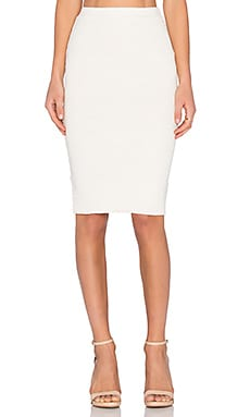 MONROW Slub Pencil Skirt in Natural