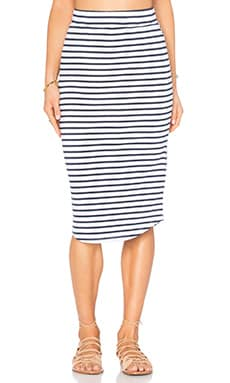MONROW Stripe Pencil Skirt in White