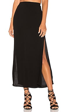 MONROW Long Slit Skirt in Black