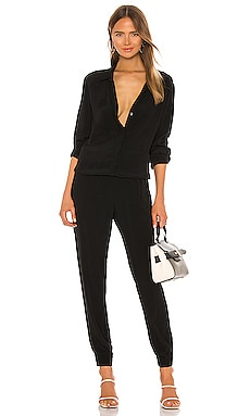 Crepe Long Sleeve Jumpsuit in Black