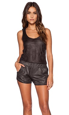 MONROW Perforated Leather Romper in Black
