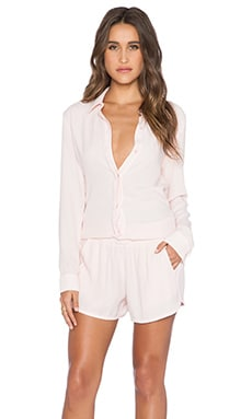 MONROW Crepe Long Sleeve Romper in Cherry Blossom