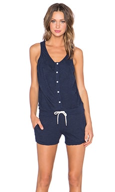 MONROW Granite Novelty Button Front Romper in Navy Blue