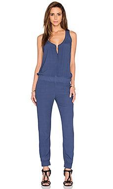 MONROW Crepe Jumpsuit in Jean Blue