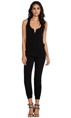 Monrow Crepe Jumpsuit in Black