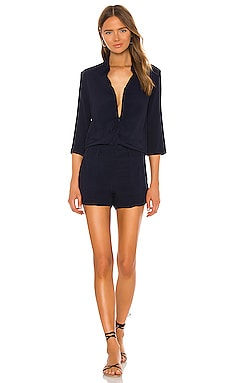 Zip Up Romper in Navy
