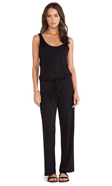 MONROW Stretch Rayon Jersey Jumpsuit in Black