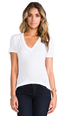 MONROW Tissue V Neck Tee in White