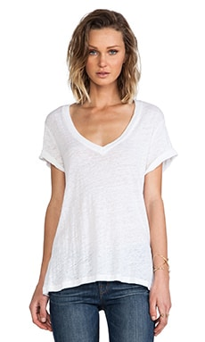 Linen Jersey Oversized Tee in White