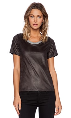 MONROW Perforated Leather Tee in Black