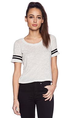 MONROW Athletic Crop Tee in Ash