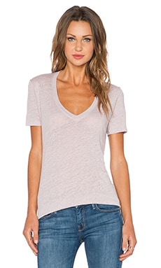 MONROW Linen Oversized V Neck Tee in Chalk