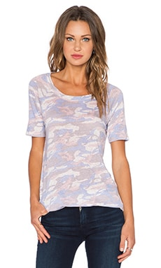MONROW Camo Linen Short Sleeve Rock Tee in Bone