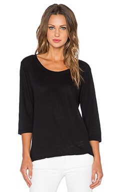 MONROW Linen 3/4 Sleeve Tee in Black