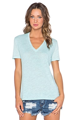 MONROW Vintage Basics Oversized V Neck Tee in Mist