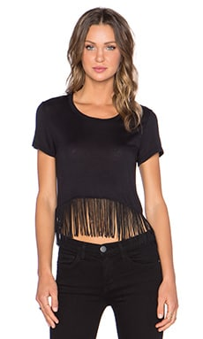 MONROW Fringe Tee in Black