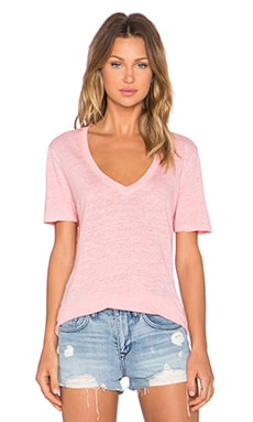 MONROW Linen Basics Oversized V Neck Tee in Pink