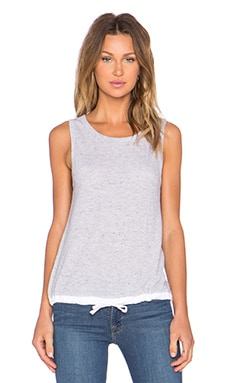 MONROW Linen Basics Drawstring Tank in Heather Grey