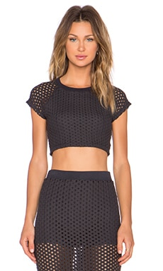 MONROW x REVOLVE EXCLUSIVE Crochet Crop Top in Black