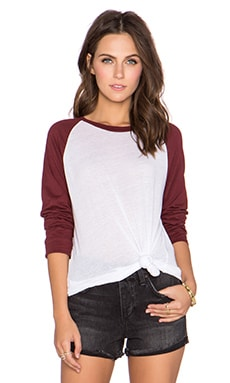 MONROW 70's Athletic Oversized Raglan Tee in Maroon