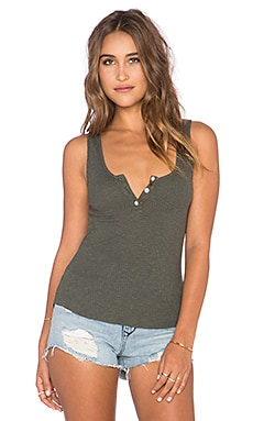 MONROW Baseball Hem Rib Tank in Hunter