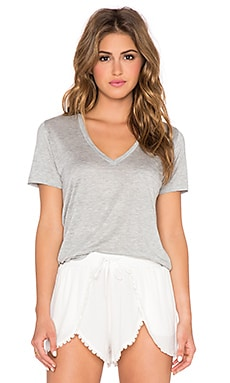 MONROW Rayon V Neck Tee in Heather