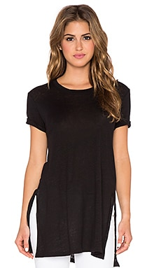MONROW Linen Oversized Split Hem Tee in Black