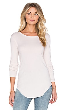MONROW Long Sleeve Rib Tee in Bone