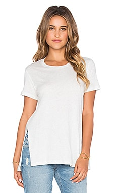 MONROW Cashmere Blend Oversized Split Hem Tee in Ash