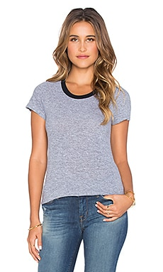MONROW Sporty Basics Ringer Tee in Granite