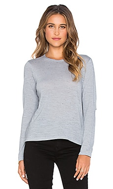 MONROW Cut Out Top in Dusty Blue